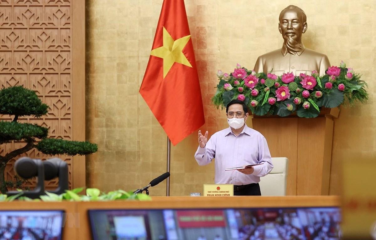 Thủ tướng Phạm Minh Chính phát biểu kết luận hội nghị. (Ảnh: Dương Giang/TTXVN)