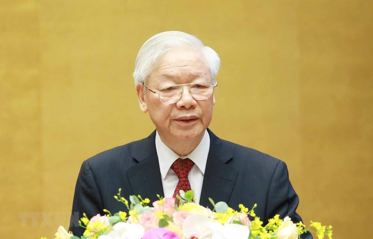 Tổng Bí thư Nguyễn Phú Trọng phát biểu chỉ đạo Hội nghị. (Ảnh: Phương Hoa/TTXVN)