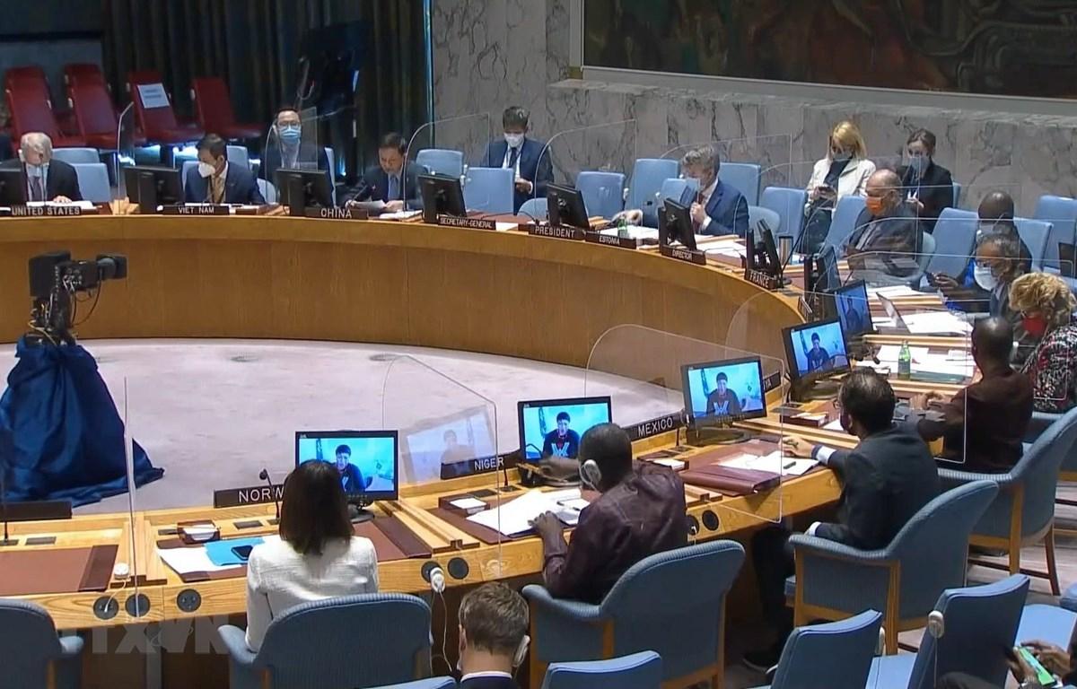 Một cuộc họp của Hội đồng Bảo an Liên hợp quốc bàn về tình hình ở Sudan. (Ảnh: Hữu Thanh/TTXVN)