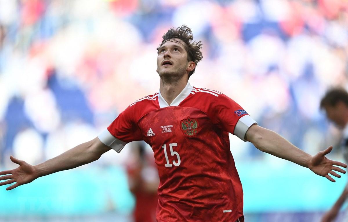 Aleksey Miranchuk ghi bàn giúp Nga giành chiến thắng. (Ảnh: AFP/TTXVN)