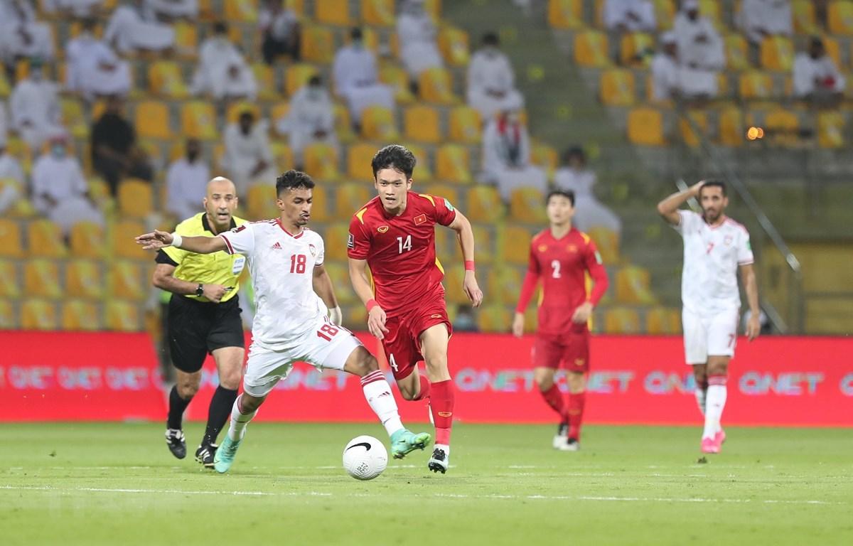 Cả Việt Nam và UAE cùng vào vòng loại thứ 3 World Cup 2022 khu vực châu Á. (Ảnh: Hoàng Linh/TTXVN)