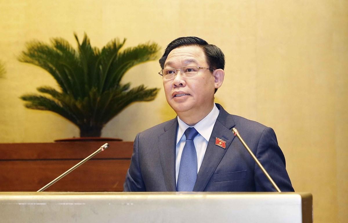 Chủ tịch Quốc hội Vương Đình Huệ phát biểu bế mạc kỳ họp. (Ảnh: Doãn Tấn/TTXVN)