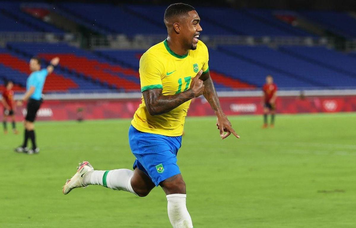Malcom giúp Brazil giành huy chương Vàng bóng đá nam Olympic Tokyo 2020. (Nguồn: Eurosport)