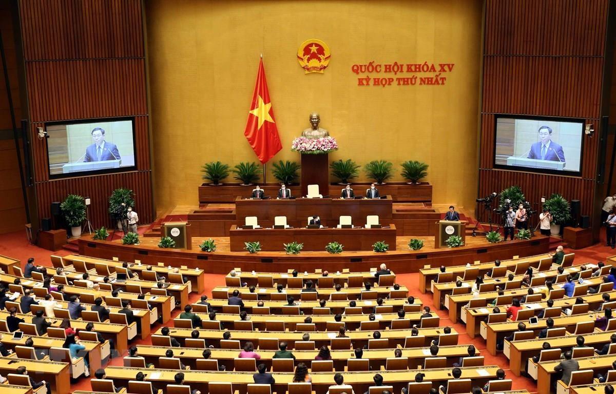 Chủ tịch Quốc hội Vương Đình Huệ phát biểu bế mạc Kỳ họp thứ nhất, Quốc hội khóa XV. (Ảnh: Phạm Kiên/TTXVN)