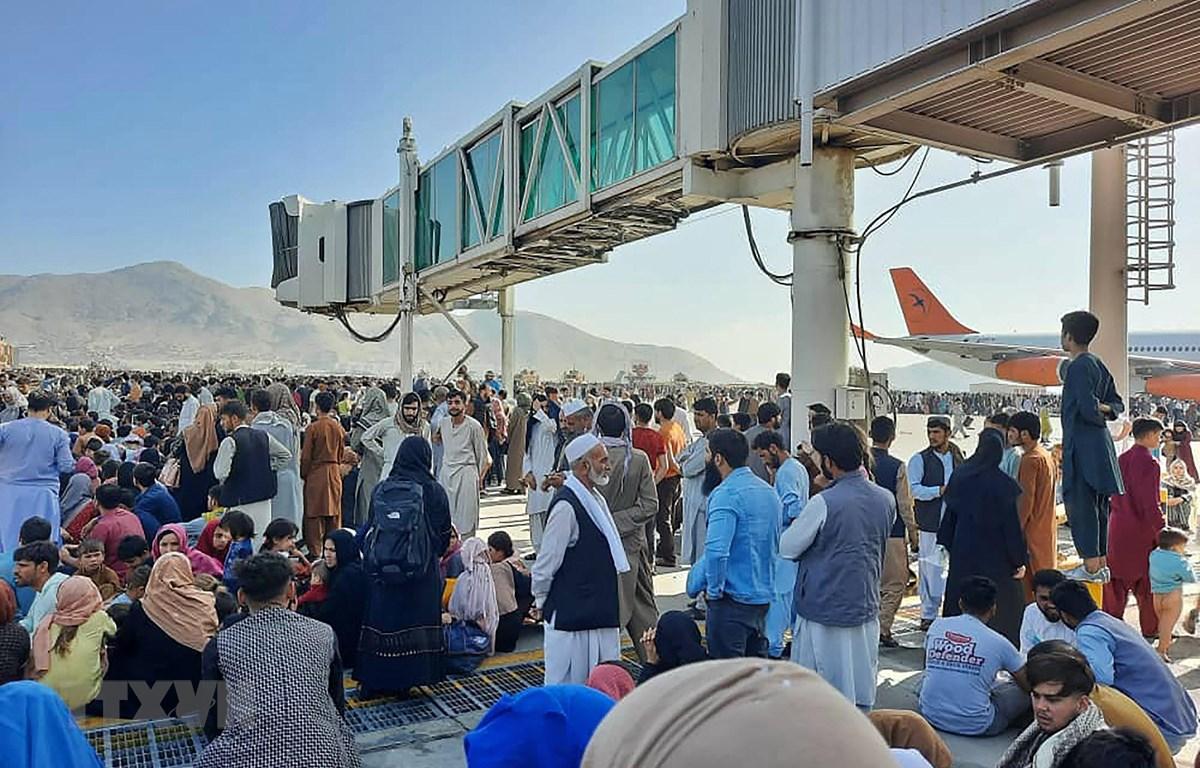 Đám đông người sơ tán khi Taliban tuyên bố kiểm soát Afghanistan. (Ảnh: AFP/TTXVN)