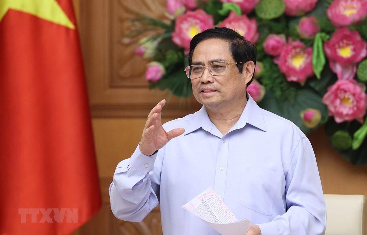 Thủ tướng Phạm Minh Chính phát biểu kết luận buổi làm việc. (Ảnh: Dương Giang/TTXVN)