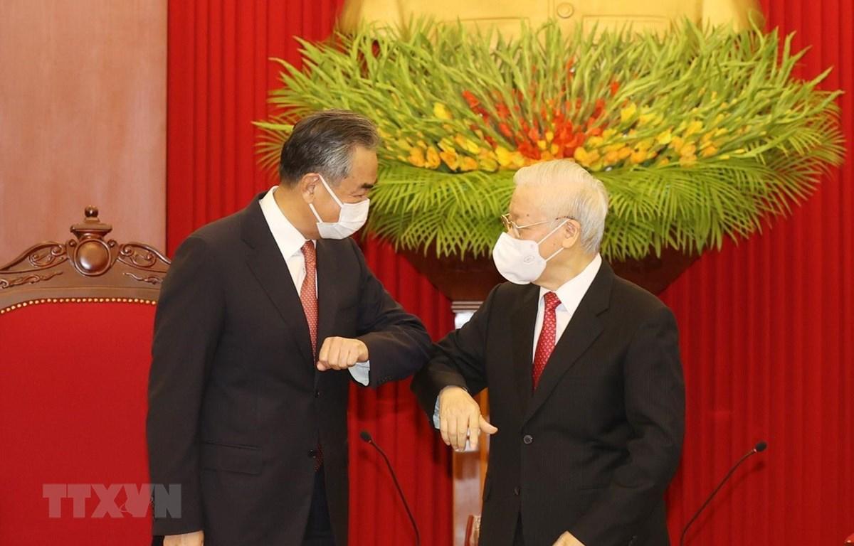 Tổng Bí thư Nguyễn Phú Trọng tiếp Ủy viên Quốc vụ, Bộ trưởng Bộ Ngoại giao Trung Quốc. (Ảnh: Trí Dũng/TTXVN)