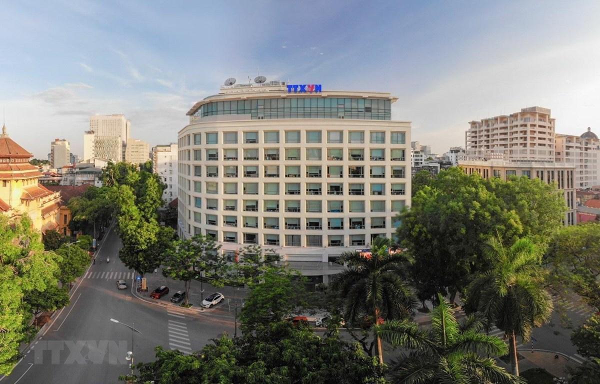 Tòa nhà Thông tấn nổi bật - là ngôi nhà chung của các thế hệ thông tấn. (Ảnh: Phạm Tuấn Anh/TTXVN)