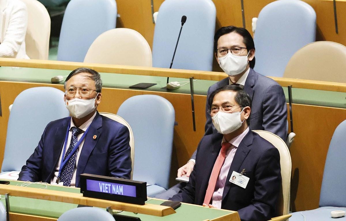 Bộ trưởng Ngoại giao Bùi Thanh Sơn và các đại biểu tham dự Phiên thảo luận Cấp cao Đại hội đồng Liên hợp quốc lần thứ 76. (Ảnh: Thống Nhất/TTXVN)