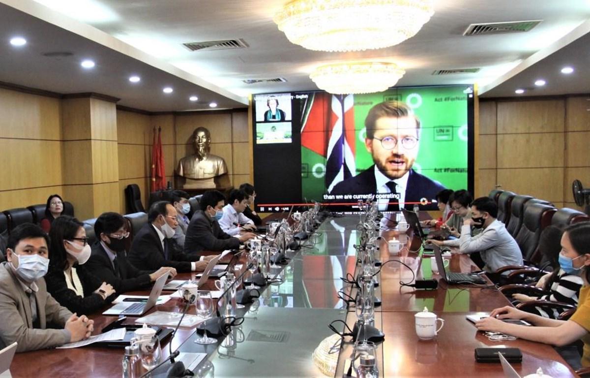 Đoàn Việt Nam tham dự phiên họp lần thứ 5 của Hội đồng Môi trường Liên hợp quốc theo hình thức trực tuyến. (Nguồn: Tổng cục Môi trường)