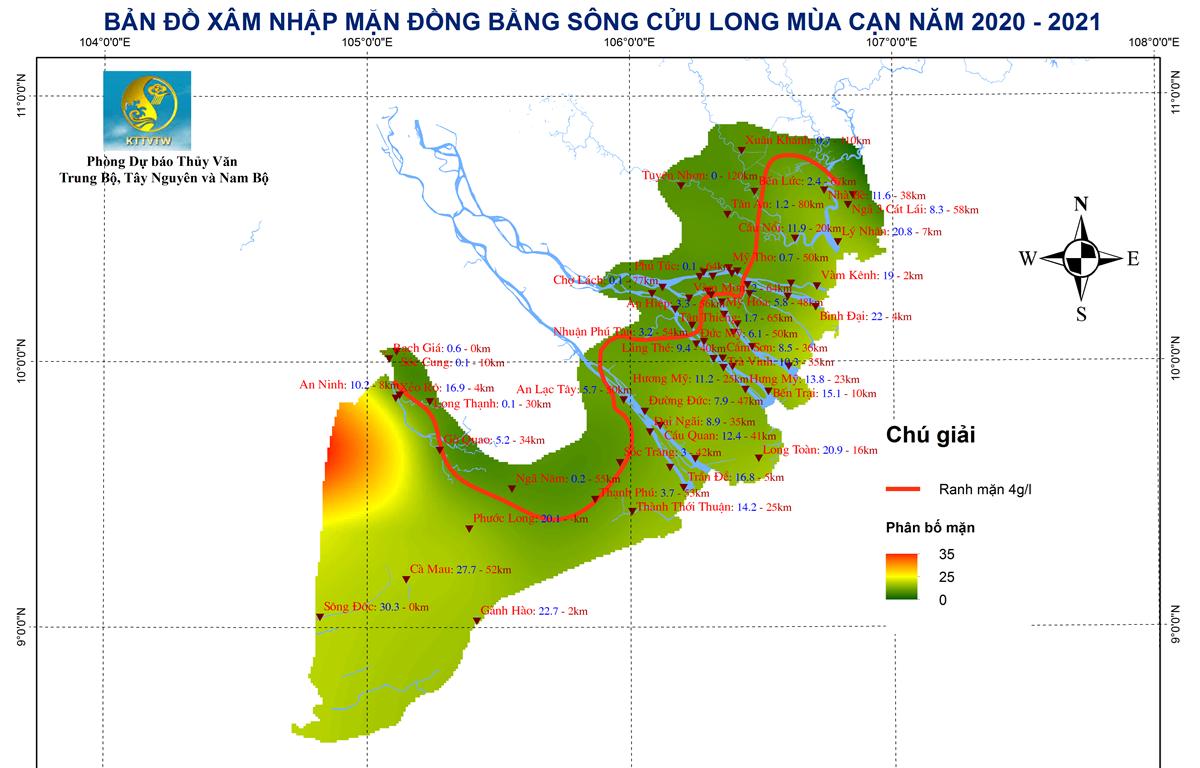 Bản đồ dự báo xâm nhập mặn khu vực Đồng bằng sông Cửu Long. (Nguồn: KTTV)