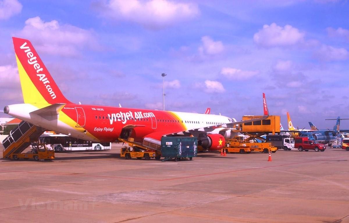 Trong 2 ngày 14-15/6, các chuyến bay của hãng hàng không Vietjet đã bị chậm hủy chuyến dây chuyền ở nhiều sân bay. (Ảnh: Việt Hùng/Vietnam+)