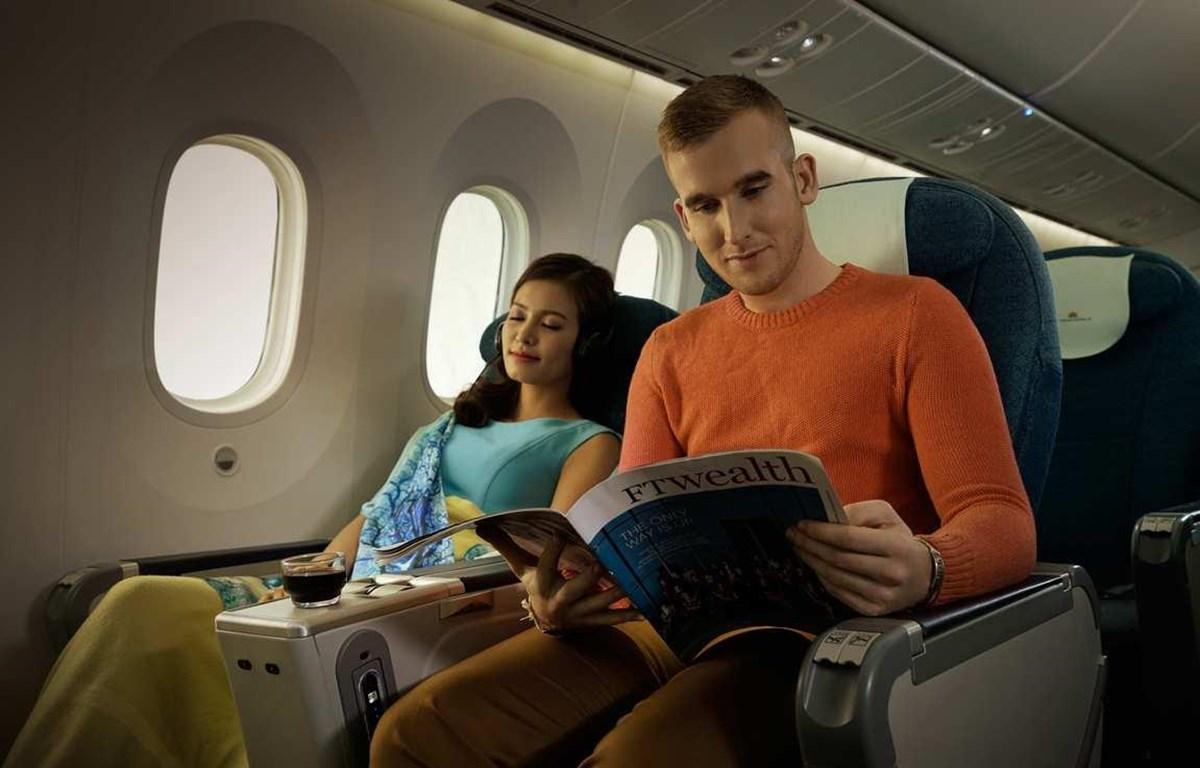 Hạng ghế phổ thông Đặc biệt của hãng hàng không Vietnam Airlines. (Ảnh: Anh Tuấn/Vietnam+)