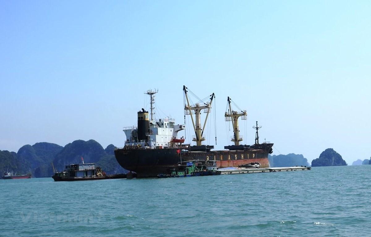 Tàu sông pha biển không chỉ lợi thế vào sâu trong các cảng nội địa mà còn mang tính giá trị kinh tế cao cả về chi phí đóng tàu và chi phí cầu cảng. (Ảnh: Việt Hùng/Vietnam+)