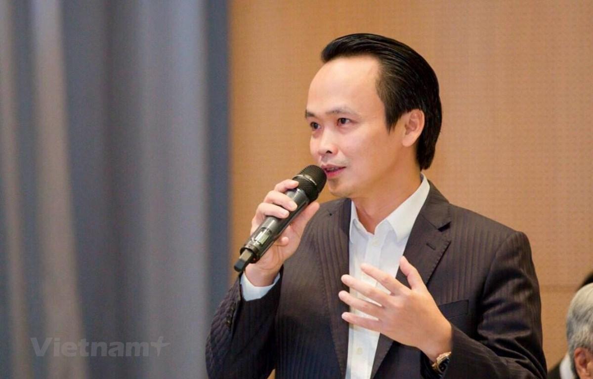 Ông Trịnh Văn Quyết, Chủ tịch Tập đoàn FLC nói về kế hoạch mở đường bay thẳng Việt Nam tới Mỹ. (Ảnh: Việt Hùng/Vietnam+)