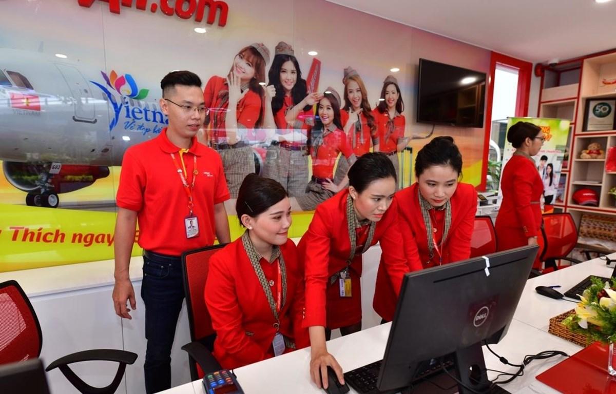 Khu vực làm thủ tục check-in trong thành phố của Vietjet. (Ảnh: CTV/Vietnam+)