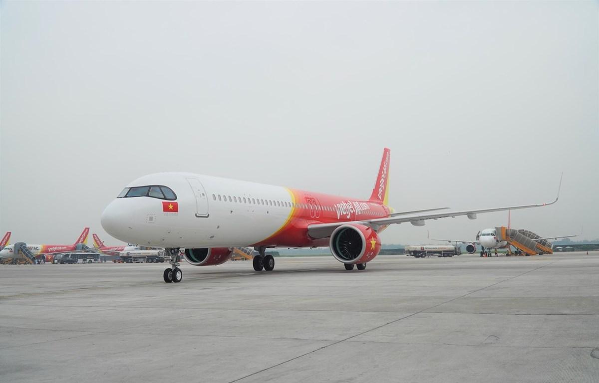 Vietjet vừa tiếp nhận dòng máy bay Airbus thế hệ mới A321neo ACF (Airbus Cabin Flex) 240 ghế đầu tiên trên thế giới. (Ảnh: CTV/Vietnam+)