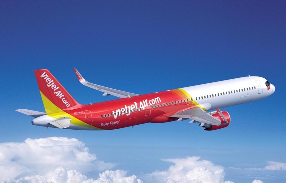 Tàu bay Airbus A321XLR của hãng hàng không Vietjet. (Ảnh: CTV/Vietnam+)