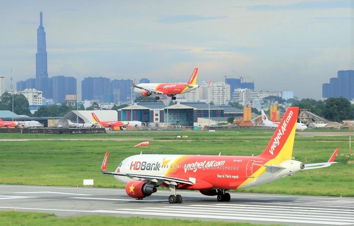 Máy bay của hãng hàng không Vietjet. (Ảnh: CTV/Vietnam+)