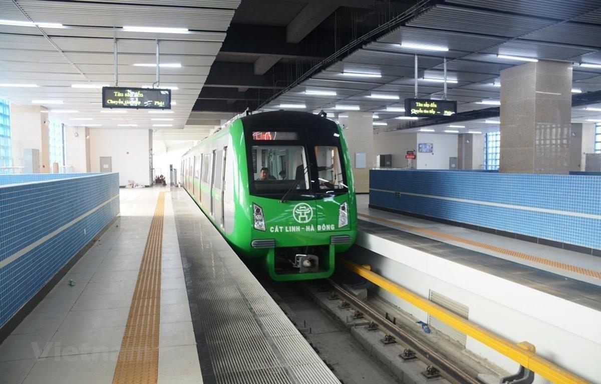 Đoàn tàu của dự án đường sắt đô thị Cát Linh-Hà Đông. (Ảnh: Việt Hùng/Vietnam+)