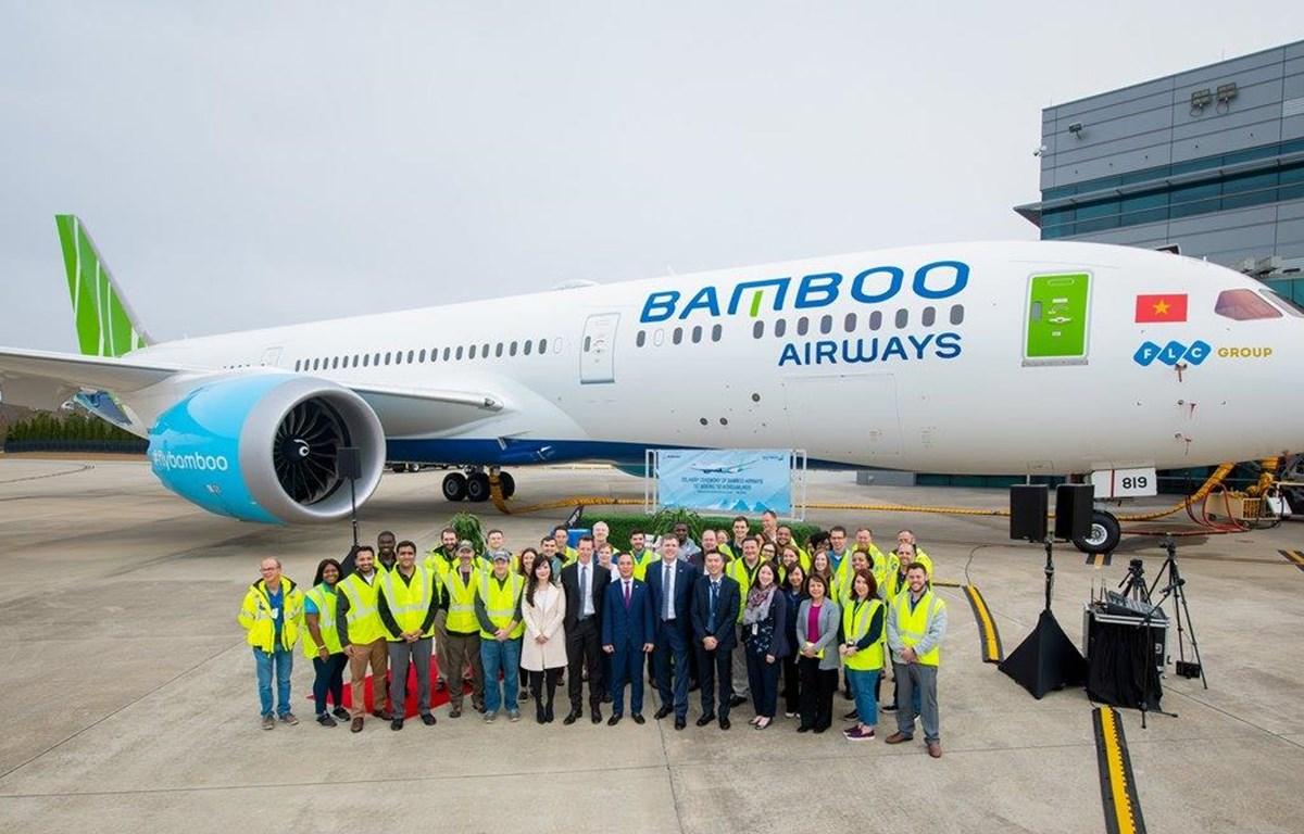Bamboo Airways chính thức tiếp nhận chiếc máy bay thân rộng Boeing 787-9 Dreamliner đầu tiên. (Ảnh: CTV/Vietnam+)