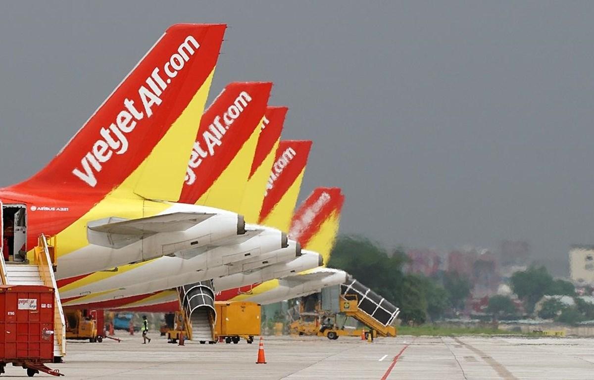 Đội tàu bay của hãng hàng không Vietjet. (Ảnh: CTV/Vietnam+)