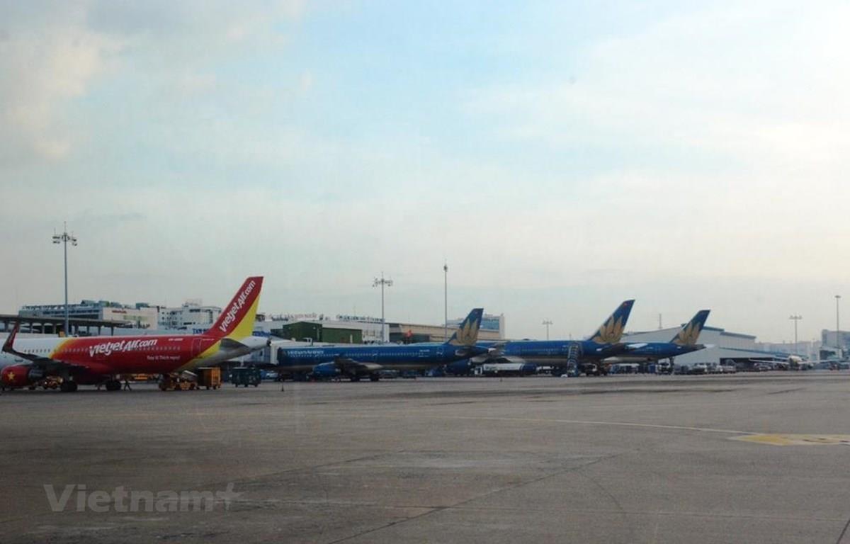 Máy bay của các hãng hàng không Việt Nam tại Cảng hàng không. (Ảnh: Việt Hùng/Vietnam+)