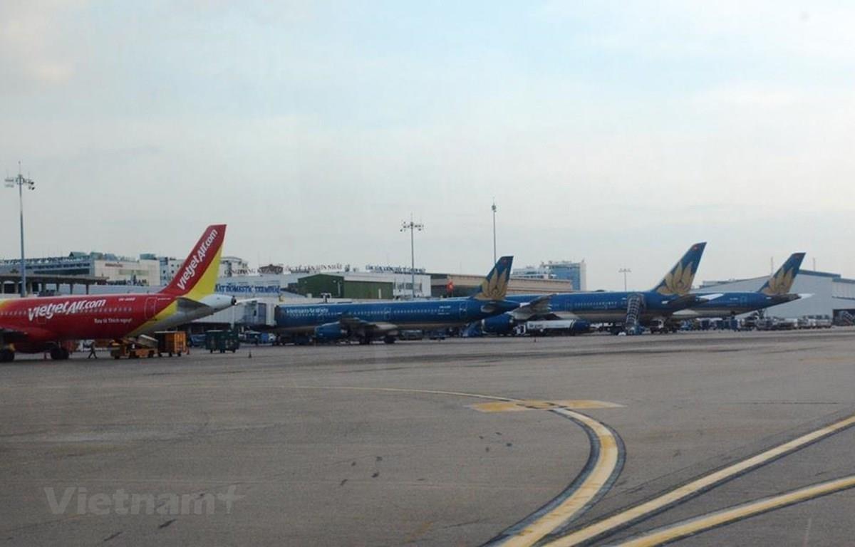 Máy bay của các hãng hàng không Vietnam Airlines và Vietjet. (Ảnh: Việt Hùng/Vietnam+)