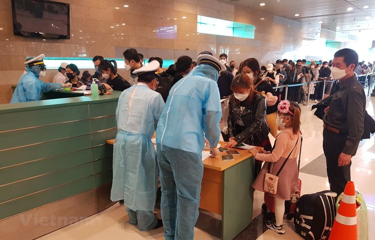 Hành khách làm thủ tục khai báo y tế tại sân bay. (Ảnh: Thu Phương/Vietnam+)