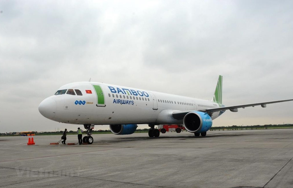 Máy bay của hãng hàng không Bamboo Aiways. (Ảnh: Việt Hùng/Vietnam+)