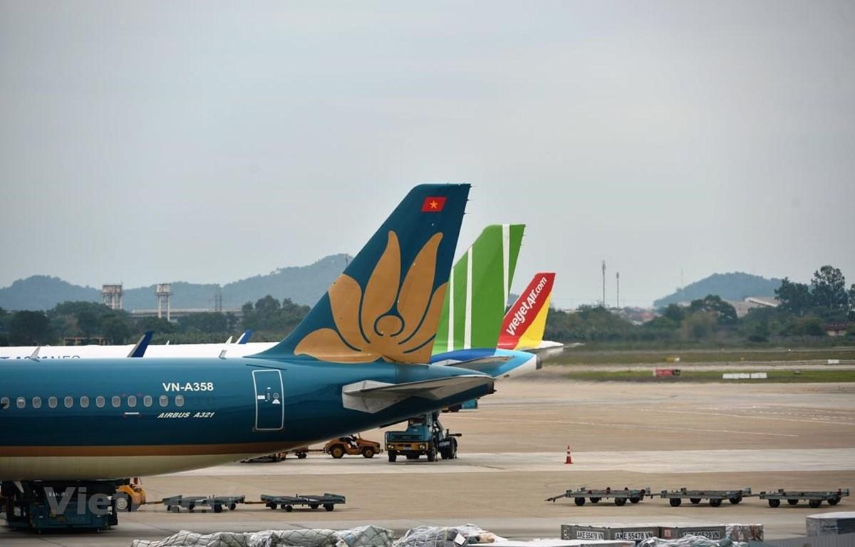 Máy bay của các hãng hàng không tại sân bay Nội Bài. (Ảnh: Hoàng Anh/Vietnam+)