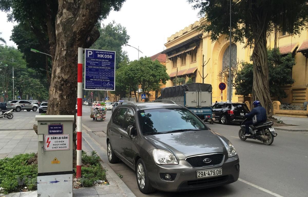 Một điểm trông giữ xe dưới lòng đường qua hệ thống ứng dụng iParking. (Ảnh: Việt Hùng/Vietnam+)