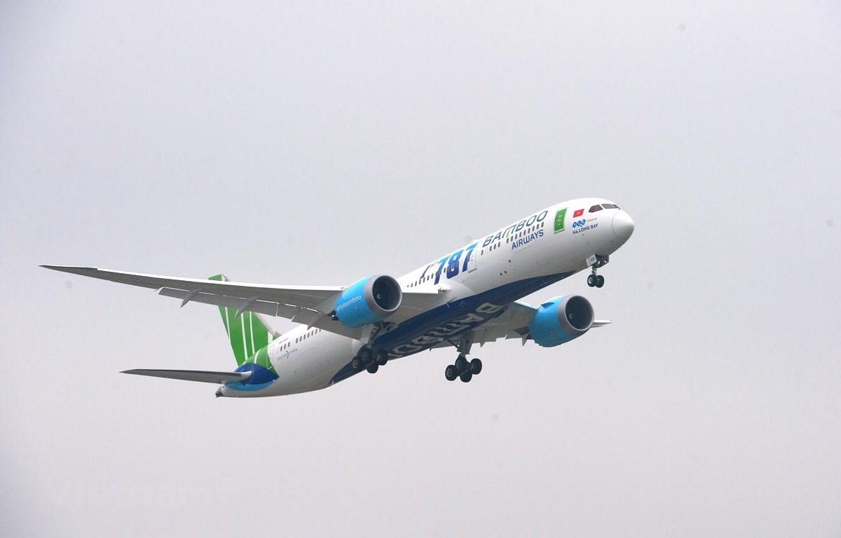 Dòng máy bay Boeing 787-9 sẽ được Bamboo Airways dự kiến khai thác đường bay thẳng Hà Nội-Melbourne vào đầu năm 2021. (Ảnh: CTV/Vietnam+)