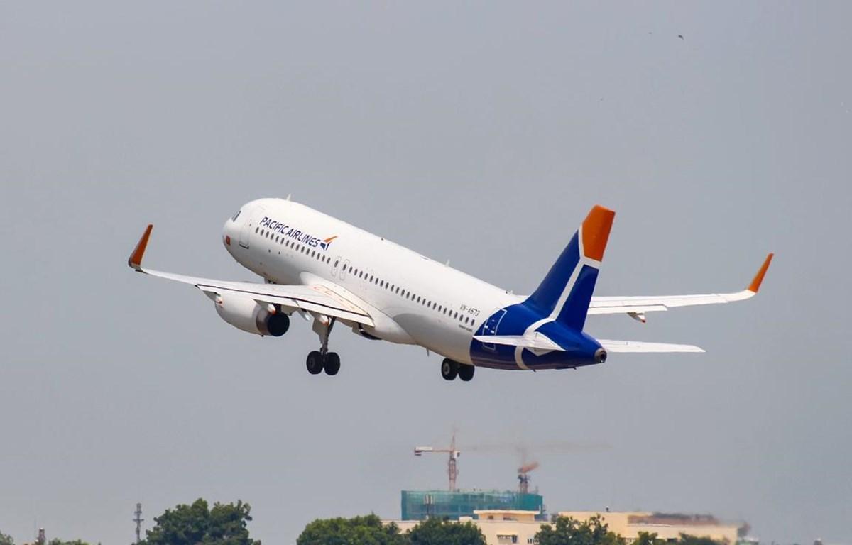 Máy bay Pacific Airlines chính thức ra mắt với màu sơn của thương hiệu mới. (Ảnh: CTV/Vietnam+)