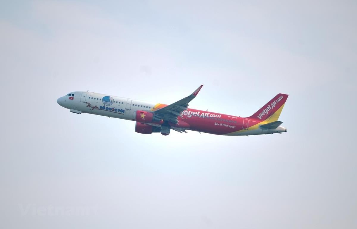 Máy bay của hãng hàng không Vietjet Air. (Ảnh: CTV//Vietnam+)
