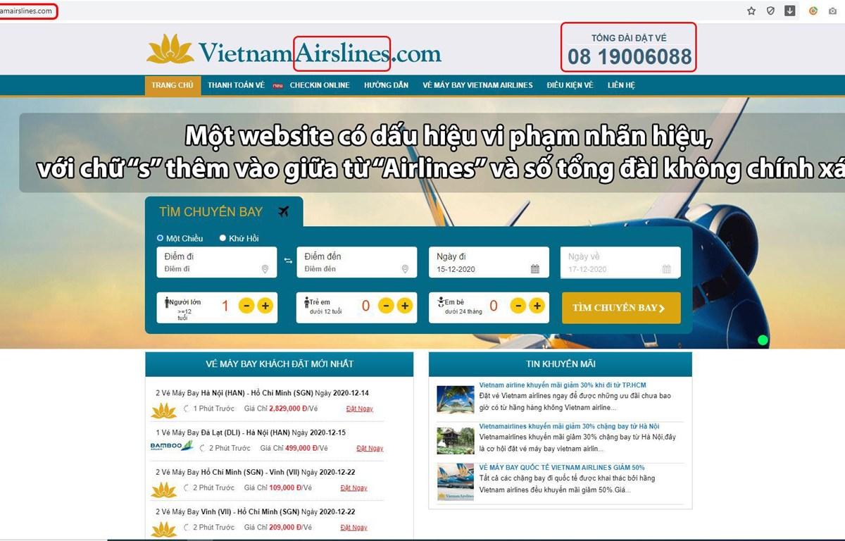 Một website không phải kênh bán vé chính thức của Vietnam Airlines, nhưng được thiết kế gần giống website chính thức của hãng và giả mạo bán vé máy bay của Vietnam Airlines.