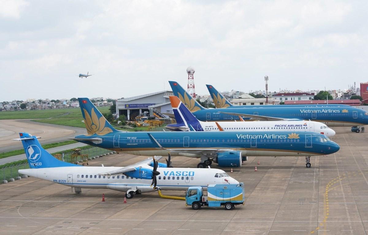 Đội tàu bay của Vietnam Airlines Group bao gồm Vietnam Airlines, Pacific Airlines và VASCO. (Ảnh: CTV/Vietnam+)
