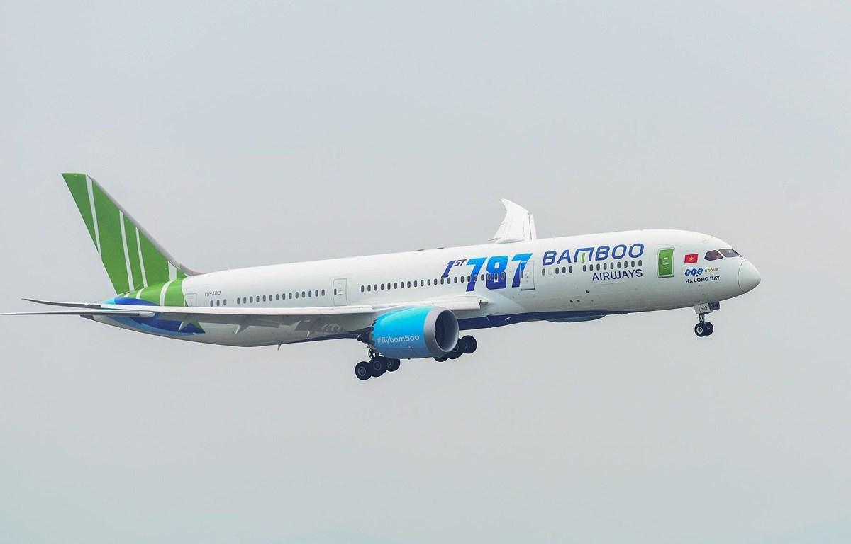 Máy bay thân rộng hiện đại Boeing 787-9 Dreamliner của Bamboo Airways được sử dụng để bay thẳng tới Mỹ. (Ảnh: CTV/Vietnam+)