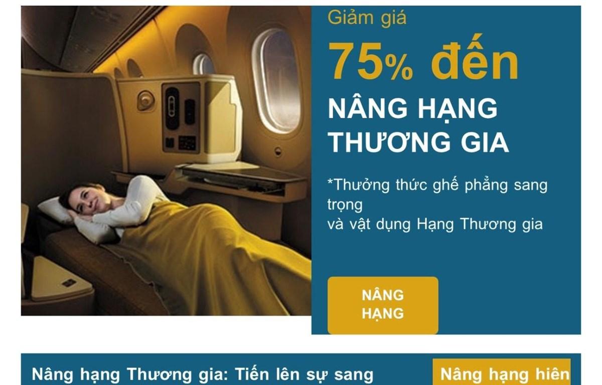 Trang quảng cáo của Vietnam Airlines về nâng hạng vé (Ảnh chụp màn hình)
