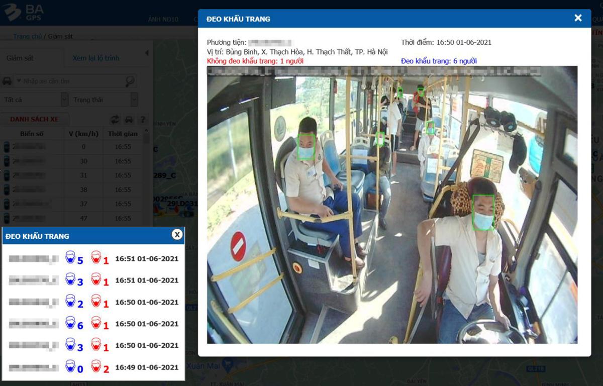 Hệ thống cảnh báo được gửi về cho đơn vị kinh doanh vận tải qua phần mềm trên điện thoại thông minh và máy tính nếu có hành khách không đeo khẩu trang hoặc đeo khẩu trang không đúng cách. (Ảnh chụp màn hình)