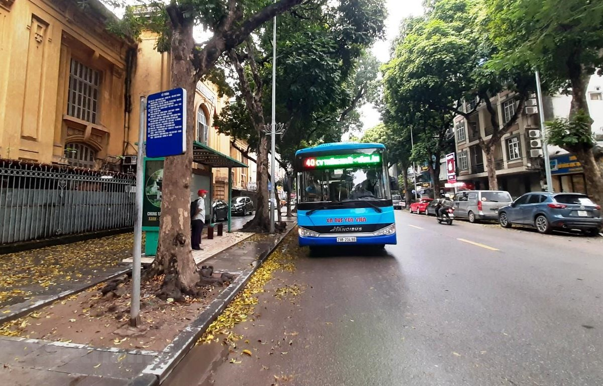Hành khách đón xe buýt tại một điểm chờ trên đường Lê Thánh Tông, quận Hoàn Kiếm, Hà Nội. (Ảnh: Việt Hùng/Vietnam+)