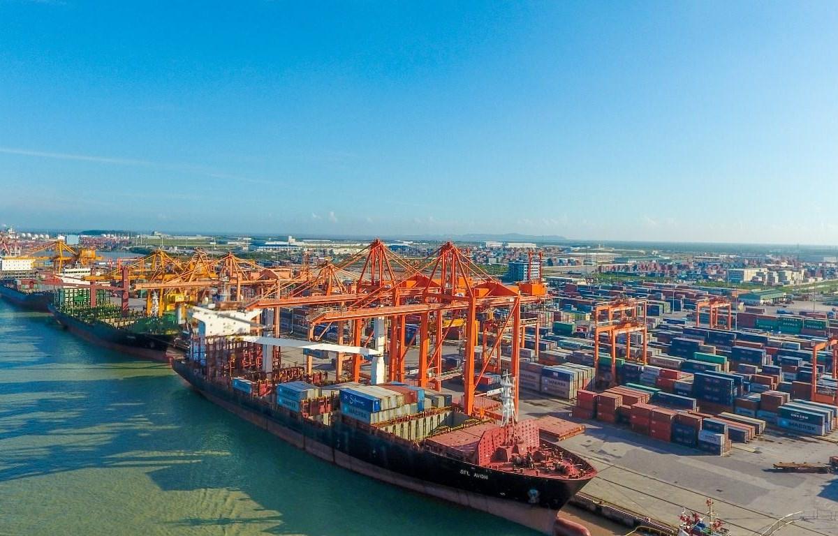 Hàng hóa thông qua các cảng biển Việt Nam vẫn giữa sự tăng trưởng ổn định dù có dịch COVID-19. (Ảnh: CTV/Vietnam+)