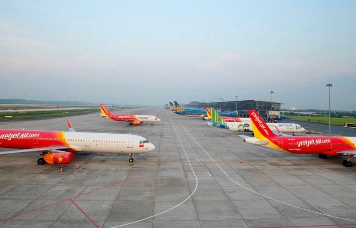 Máy bay của các hãng hàng không tại sân bay Nội Bài. (Ảnh: CTV/Vietnam+)