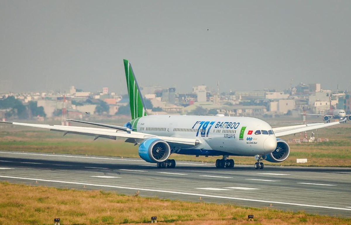 Máy bay Boeing B787-9 được hãng hàng không Bamboo Airways sử dụng để bay thẳng đến Mỹ. (Ảnh: CTV/Vietnam+)