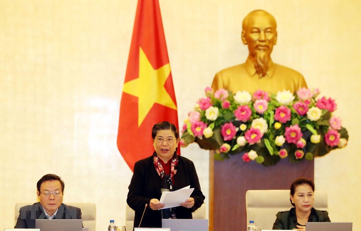 Phó Chủ tịch Thường trực Quốc hội Tòng Thị Phóng chủ trì phiên họp. (Ảnh: Trọng Đức/TTXVN)