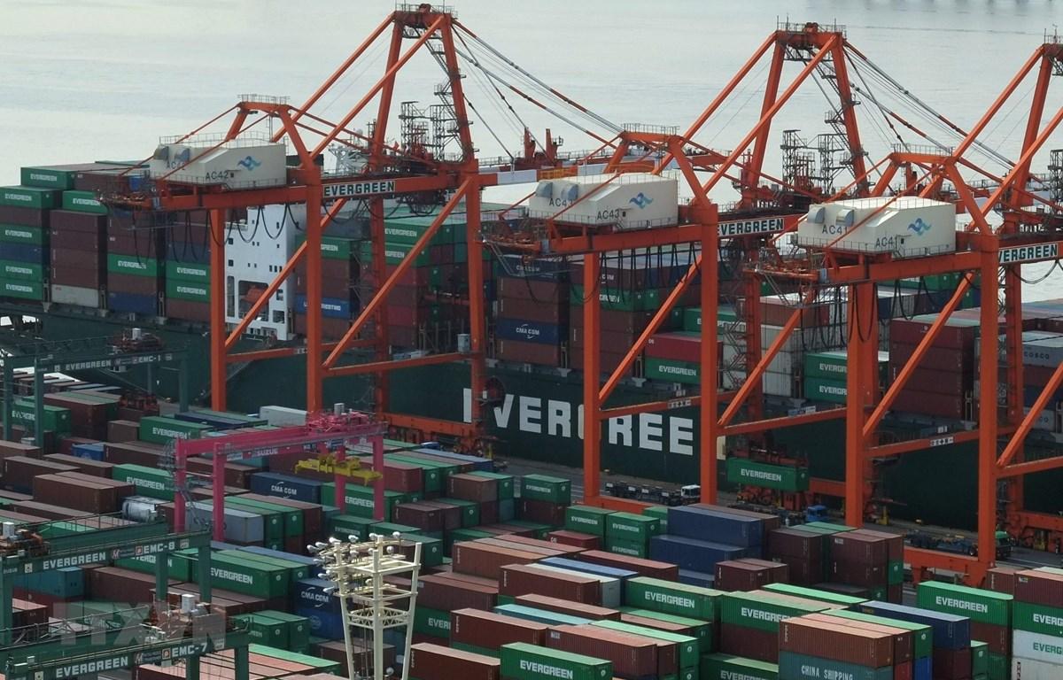 Hàng hóa được xếp tại cảng ở Tokyo, Nhật Bản, ngày 19/2/2018. (Ảnh: AFP/TTXVN)
