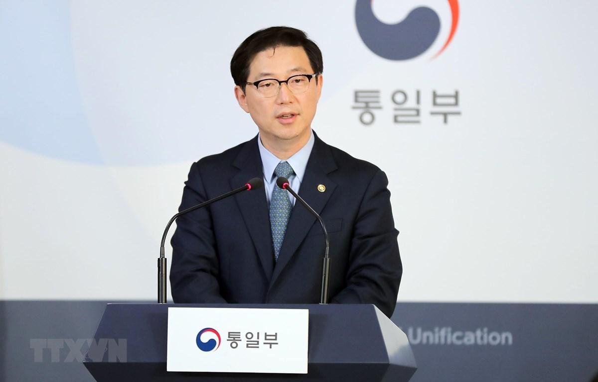 Thứ trưởng Bộ Thống nhất Hàn Quốc Chun Hae-sung phát biểu trong cuộc họp báo tại Seoul ngày 22/3/2019. (Ảnh: Yonhap/TTXVN)