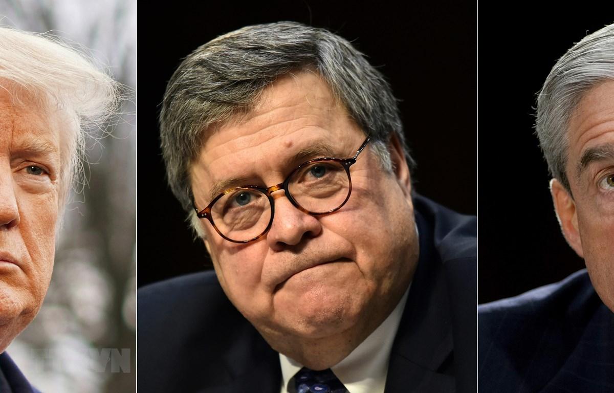 Từ trái sang: Tổng thống Mỹ Donald Trump, Tổng Chưởng lý Mỹ William Barr và Công tố viên đặc biệt Robert Mueller. (Ảnh: AFP/TTXVN)