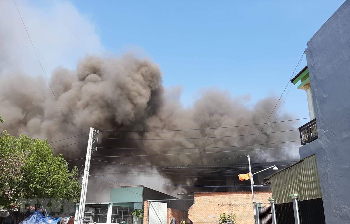 Hiện trường nơi xảy ra vụ cháy. (Ảnh: Huyền Trang/TTXVN)