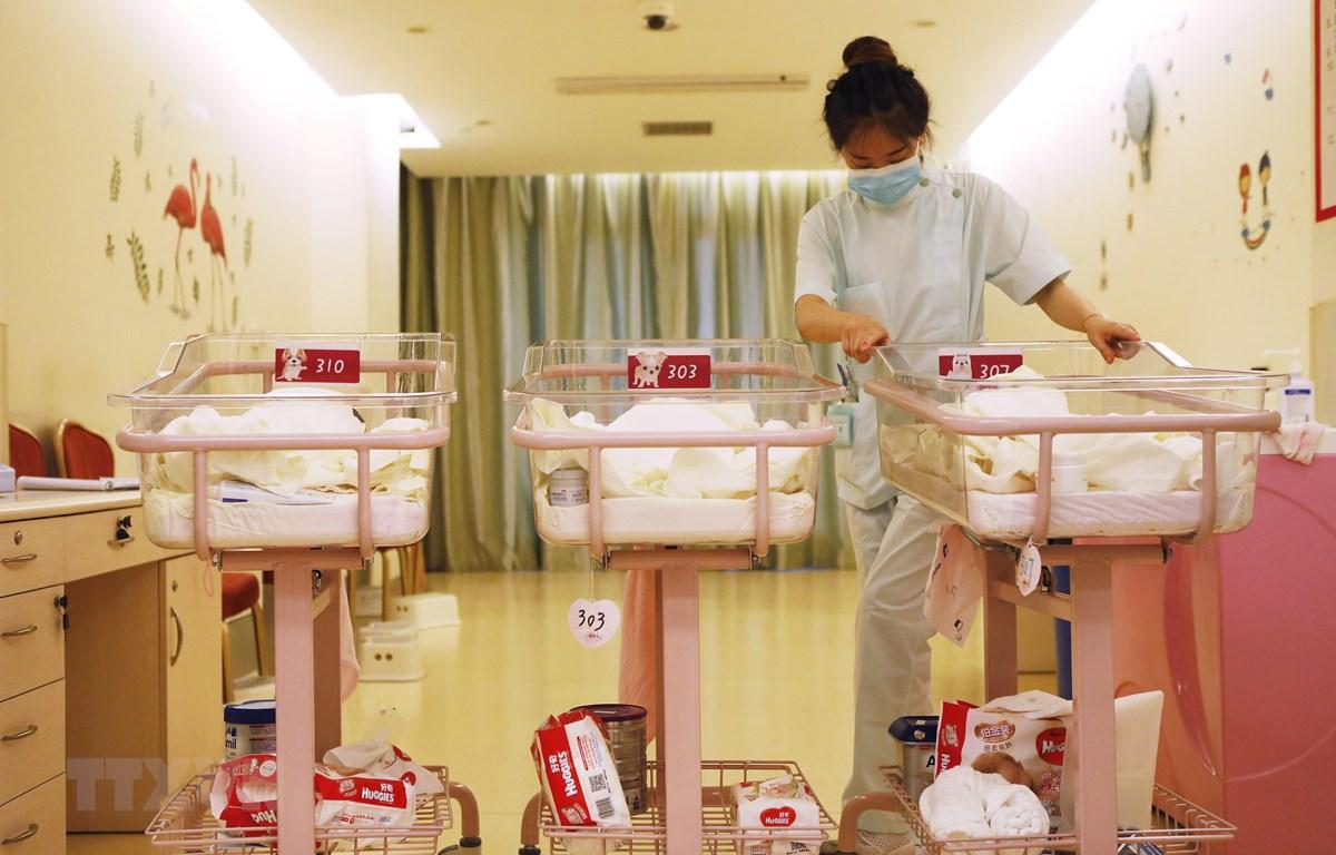Chăm sóc trẻ sơ sinh tại bệnh viện ở Thượng Hải, Trung Quốc. (Ảnh: AFP/TTXVN)